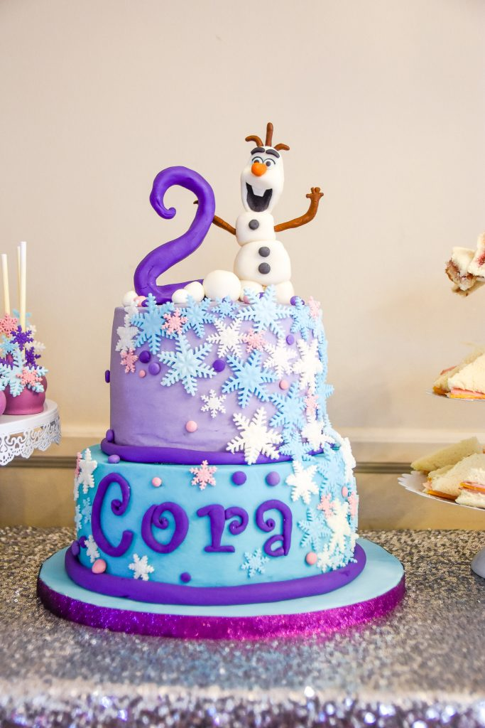 Disney Frozen 2nd Birthday Cake with Olaf on top